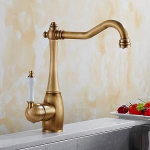 Küchenarmatur Antike Gebürstetes Porzellan Griff Wasserhahn Heiß Kalt Mischbatterie Luxus Wasserhahn 360 Swivel 9070S