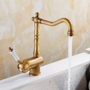 Küchenarmatur Antike Gebürstetes Porzellan Griff Wasserhahn Heiß Kalt Mischbatterie Luxus Wasserhahn 360 Swivel 9087A