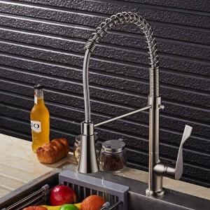 Küchenarmatur Herausziehen Spray Einzigen Handgriff Schwenkauslauf Moderne Messing Nickel Gebürstet Waschbecken Mischbatterie Wasserhahn LAD-71
