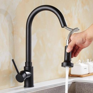 Küchenarmatur Einzigen Handgriff Loch Herausziehen Spray Messing Spüle Wasserhahn Mischer Kalt Warmwasserhähne Torneira Cozinha LAD-116