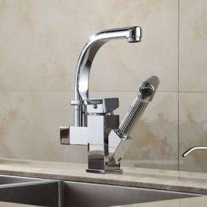 Küchenarmaturen Messing Chrom Spüle Wasserhahn Herausziehen Sprayer Schwenkauslauf Einhebel Deck Mount Waschtischmischer HJ-8019
