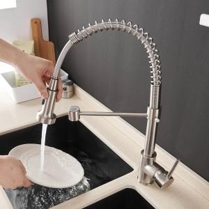 Küchenarmaturen Bürste Messing Armaturen für Küchenspüle Einhebel Ausziehfeder Auslauf Mischbatterie Heiß Kaltwasser Kran 9009