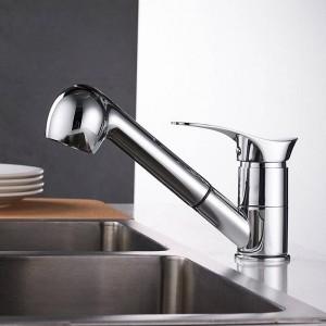 Küchenarmaturen Grifos De Cocina Swivel Ausziehbare Spüle Wasserhahn Wasserspar schwarz Waschtisch-Kran-Mischbatterie Messing LAD-7005