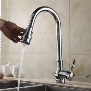 Küchenarmaturen Moderne ausziehbare Spüle Wasserhahn heiß und kalt verchromt Mischbatterie in der Küche Kran 7117L
