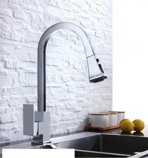 Küchenarmaturen Silber Einhand-Ausziehküchenarmatur Einloch-Griff Schwenkbar 360-Grad-Wasser-Mischbatterie Mischbatterie 866399R