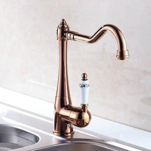 Küchenarmaturen Einzelhalter Einlochmontage Spüle Wasserhahn Schwenkauslauf Keramikgriff Chrom Messing Mixer Wasserhähne HJ-7801
