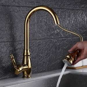 Küchenarmaturen Luxus Ausziehspüle Wasserhahn Messing Swivel Spray Küchenarmatur Einlochmontage Wasserhahn torneira cozinha LAD-99