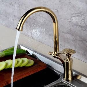 Ktichen Wasserhahn Luxus Goldene Messing High Arch Spültischarmaturen Einzigen Handgriff Schwenkauslauf Waschbecken Mischbatterie Wasserhahn DL-8105