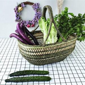 Große Bambus Stroh Korb Wicker Rattan handgemachte Runde Obst Lebensmittel Brot Küche hängende Ablagekörbe Veranstalter Panier Korbweide