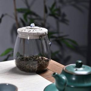Bleifreies Glas Teedosen Creative Cloth Holzabdeckung Mehrkorn-Trockenfrüchte Vorratsflasche versiegelte Dosen Flower Teeglas Teeglas Geschenk
