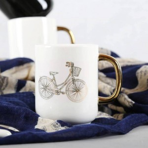 Lekoch 350ml Feste weiße schwarze Keramikkaffeetasse Lustige Fahrrad-Vergoldungs-Becher Reise-Tee-Milch-Becher Office Home Couple Cup