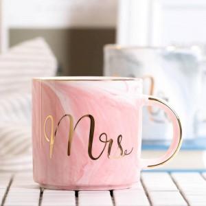 Lekoch 380ml Marmor Keramiktasse Reisekaffeetasse Milch Teetassen Kreative Mr und Mrs Tassen Pink Gold Inlay Frühstück Home Decor