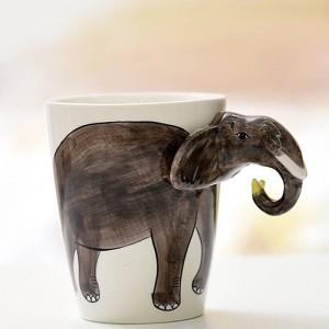 Lekoch Animal Ceramic Coffee Mug 3D handbemalte weiße süße Hund Deer Mug 400ml Tee Milch Tasse für Geburtstagsfeier Weihnachtsgeschenk