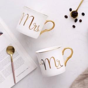 Lekoch-Knochen-Keramik-Becher-Schale graues Rosa färbt Herrn und Frau Travel Mug weißes Muster-Goldgriff Tee-Milch-Schalen und Becher-Geschenke