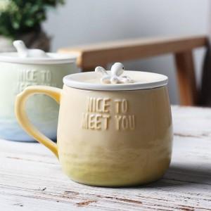 Lekoch Kreative Cartoon Keramik Kaffeetasse 360 ml 3D Kutteln Mit Deckel Handgriff Meerestier Lustige Farbverlauf Milch Tee Tasse