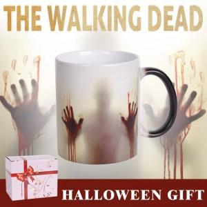 Lekoch The Walking Dead Keramiktasse Farbwechsel Kaffeetasse Hitzeempfindliche Blutige Hände Design Teetassen für Halloween Day Geschenk
