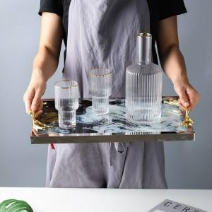 Leichte Luxus Kupfer Griff Glas Tablett Ablage Home Decoration Platte Tee Set Chassis Cloud Muster