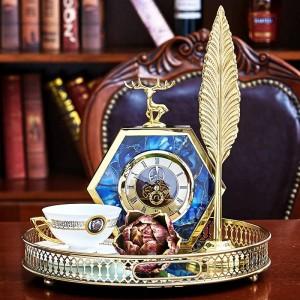 Licht Luxus Europäischen Gold Seite Blau Achat Muster Hirsch Tischuhr Hause Weinschrank Nacht Dekorationen Uhr Ornamente