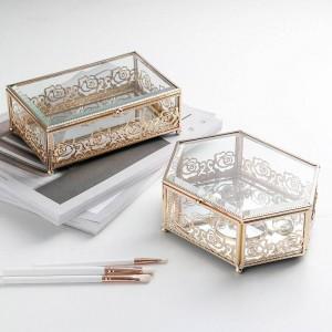 Licht Luxus Glas vergoldet Schmiedeeisen Schmuckschatulle Hause Kreative Spitze Aufbewahrungsbox Schlafzimmer Desktop Finishing Box