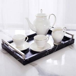 Light Luxury Home Nordic Rechteckiges Marmormuster Tablett Schmuckablage Teetablett Klassisches Anti-Made Marmormuster