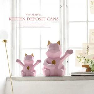 Lucky Katze Figur dekorative niedliche Sparschwein Katze Wohnkultur Geschenk Moderne geometrische Katze Münzkassette Spardose für Kinder