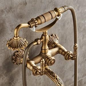 Luxus Antike Messing Bad Wasserhahn Mischbatterie Wand Handbrause Kit Dusche Wasserhahn Sets XT334