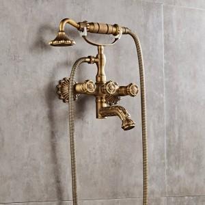 Luxus Antike Messing Bad Wasserhahn Mischbatterie Wand Handbrause Kit Dusche Wasserhahn Sets XT335