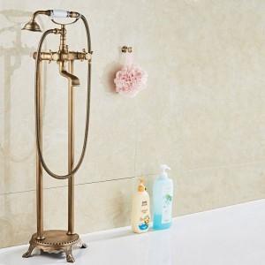 Luxus Antike Messing Bad Bodenmontage Freistehende Badewanne Wasserhahn Dusche Set Badewanne Füllstoff Mischbatterie Für Bad XT380