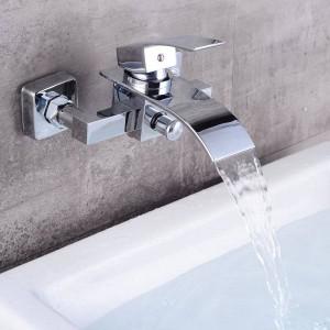 Luxus Badezimmer Große Wasserfall Badewanne Chrom Messing Mischer Glasauslauf in Wand Wasserhahn
