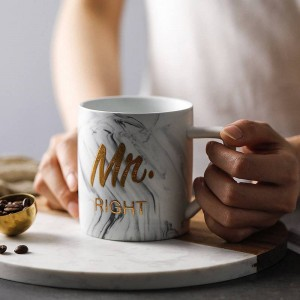 Luxus Marmor Bronzing Wort Keramik Tassen Vergoldung Frau Herr Paar Liebhaber Geschenk Morgen Becher Milch Kaffee Frühstück kreative Tasse