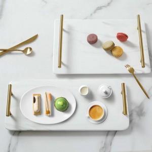 Luxus Marmoriert Rechteckige Keramikschale Home Teeschale Waschschale Klassischer Marmor Goldgriff