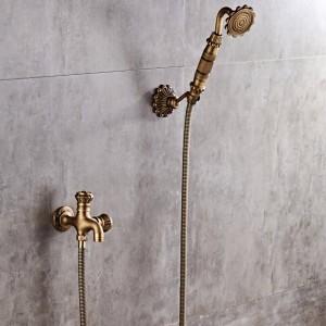 Luxus NEUE Antike Messing Regendusche Set Wasserhahn + Wannenmischbatterie + Handbrause Wandmontage XT342