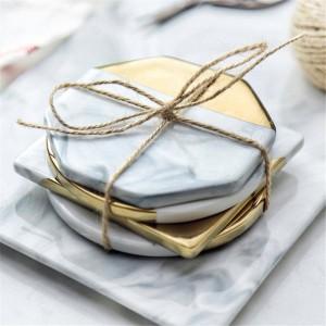 Marmorkeramikuntersetzer Untersetzer im nordischen Stil mit Goldrand verhindern rutschige Tischdekoration mit Tassenmatten