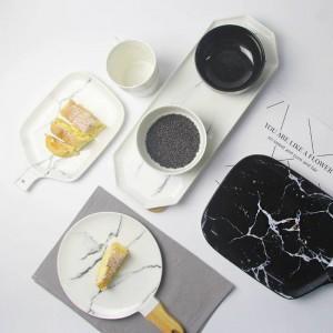 Marmorkorn Platten grau Hinweis Keramikschale schwarz weiß Marmor Textur Keramik Geschirr Porzellanteller Schale