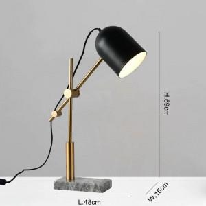 Marmortischlampen modern für Wohnzimmer Schlafzimmer Arbeitszimmer Beleuchtung Dekoration Tischleuchte Schwarz Metall Lampenschirm Leselampe