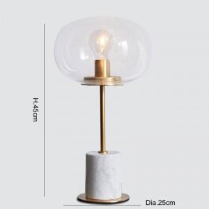 Marmortischlampen Modernes Goldmetalllampenkörper-Schreibtischlicht-Wohnzimmerschlafzimmer Eisenkunst-Klarglaslampenschirm-Ausgangsleselicht