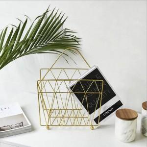 Metall Gold Ablagekorb Regal Mit Griff Vogue Moderne Nordic Eisen Schreibtisch Magazin Zeitung Buch Ablagekorb Organizer
