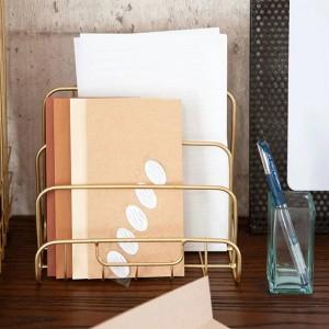Metall Gold Lagerregal Vogue moderne Mini Nordic anmutige Net Eisen Schreibtisch Magazin Zeitung Buch Veranstalter Ablagekorb Dekor