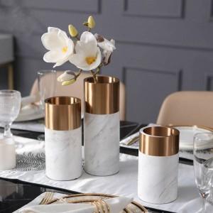Metallvase Europäischen Modernen Marmor Vase Hause Wohnzimmer Dekoration Restaurant Desktop Weiche Dekoration Ornamente