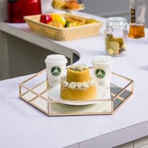Spiegel sechseckigen Tablett modernen minimalistischen Modell Zimmer Metall Dekoration Couchtisch Tasse Obst Dessert Ablage