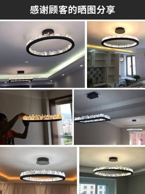 Moderne kristall pendelleuchten für wohnzimmer bar led ring runde küche led streifen lustre cristal beleuchtung esszimmer lampe