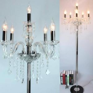 Moderne led kerze stehleuchte für wohnzimmer hochzeit kristall kerzenhalter chrom lambader party stehleuchte 110-240 v e12 / e14 led