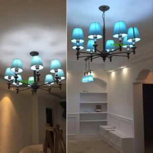 Moderne led kronleuchter lichter lampe nordic esszimmer lampe kinderzimmer eisen kunst blauen stil mediterranen kronleuchter e27