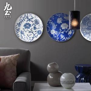 Moderne Wand Wandbehang dekorative Platte einfache geometrische Linien blau und weiß / schwarz Garden Style Home Decor Keramik