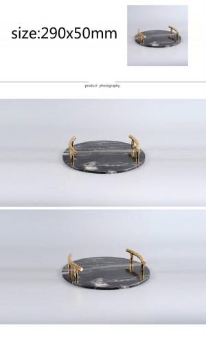 Moderner natürlicher Marmor rundes Behälter-Landhaus-Hotel-Modell Room Black Marble Decorative Tray Decoration