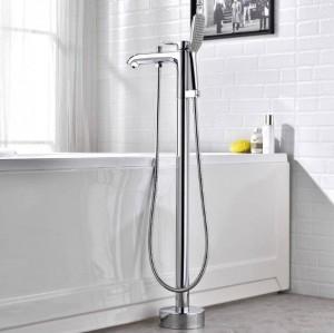 Anbau Badewanne Wasserhahn Chrom mit Handbrause Badewanne Waschbecken Mischbatterie Freistehende Schwenkauslauf Dusche Mischbatterie XT377