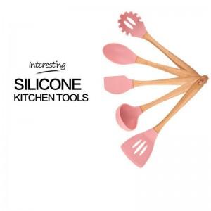 Multifunktionale Geschirr Küche Holzrahmen Silikon Küchenutensilien Kochutensilien 6-teiliges Set Schöne Mode