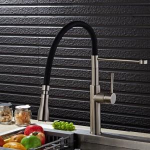 Gebürstetem Nickel Küchenarmatur 100% Messing Einhebelmischer Waschtischarmatur 360 Grad Schwenk Schwarz Küchenarmatur LAD-68