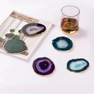 Natürliche Achat Stück Gold Edge Coaster Kaffeetasse Pad Schmuck Display Unterstützung Größe 8 ~ 10 cm