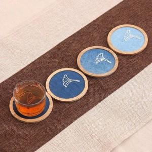 Natürliche Bambus Palette Kaffee Coaster Set für Kung Fu Tee Runde quadratische Tasse Matte Pad Tisch Isolierung rutschfeste Porta Copos Pastoral